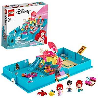 LEGO Disney Princess, Les aventures d'Ariel dans un livre de contes, Ensemble de jeu avec Ariel la petite sirène, Jouet de voyage portable, 122 pièces, 43176