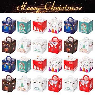 Gwhole 24 Boites Cadeau Noël Motif Sapin Bonhomme de Neige Arbre de Noël pour Pomme Fruit Chocolat Bonbons Biscuits et Petits Cadeaux - 10 x 10 x 10 cm