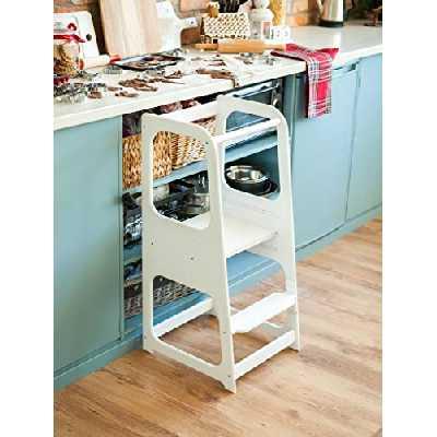 Sweet Home from Wood La Tour d'Apprentissage/d'Observation Montessori est Un Support/marchepied de Cuisine réglable (Blanc)