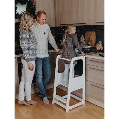 Sweet Home From Wood La Tour d'Apprentissage/d'Observation Montessori est Un Support/marchepied de Cuisine réglable, Tabouret de Cuisine avec Tableau (Blanche)