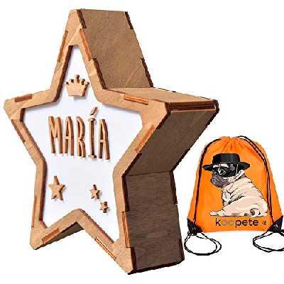 Veilleuse pour enfants, à personnaliser avec le nom. Étoile en bois avec lumière. Cadeau de naissance personnalisé. Lampe de chevet pour enfant. Sac à dos cadeau.