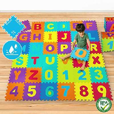 Puzzle pour Bébé - Mousse EVA, Alphabet et Chiffres, 86-430 Pièces, 3.57 m2 - 17,85 m2 - Tapis de Jeu, Dalles en Mousse, Tapis de Sol pour Chambre d'enfant (Set de 1 (3,57m2/86 Pièces))