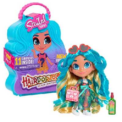 Hairdorables, Poupée (Serie 4) avec 11 Accessoires Surprises, Parfumée, Cheveux à coiffer, Modèles aléatoires, 39 poupées à collectionner, Jouet pour enfants dès 3 ans, HAA07