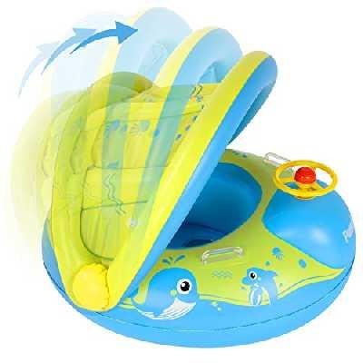 Preadix Bébé Siège De Piscine,Avec auvent amovible de Bouee Bebe,Anneau de Natation Gonflable et protection solaire pour Bebe en PVC ,Bouee bebe piscine pour 6-36 Mois