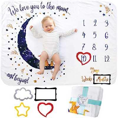Couverture Étape Mensuelle pour Bébé, Unisexe | Couverture Étape Au Mois | Cadeau Personnalisé pour Les Fêtes Prénatales | Suivez La Croissance du Bébé | Douce, Épaisse, Grande