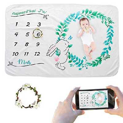 JMITHA Couverture mensuelle pour bébé avec photo de Noël, fond super doux pour nouveau-né (Lapin f) 100x150cm