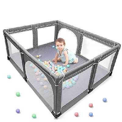 Parc bébé XL Centre d'Activité pour Enfants Intérieur et Extérieur avec Base Antidérapante Grille de Protection Stable pour Enfants