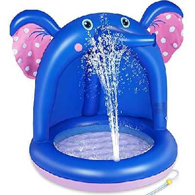 lenbest Shade Baby Pool, Pataugeoire Gonflable avec Auvent en PVC et Base de Bulles Extra Douce, Sprinkle Splash Pool Spray Water Fun Summer Garden Pool Outdoor Indoor for Kids (Blau)