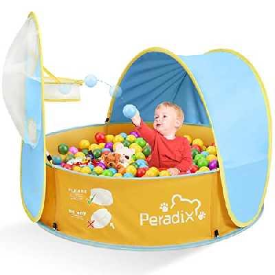 Peradix Piscine À Balles pour Bébé 2 en 1 Tente de Jeu Maisonnette Pop-up Tente Piscine Pliable Bebe pour Intérieur Extérieur, Piscine pour Enfants Parcs pour Bébé