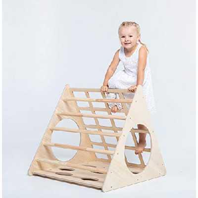 Triangle d'escalade - Cadre d'escalade intérieur en bois - Pour les enfants à partir de 6 mois - Favorise le développement moteur, l'équilibre, Convient également pour l'extérieur(Sans rampe)