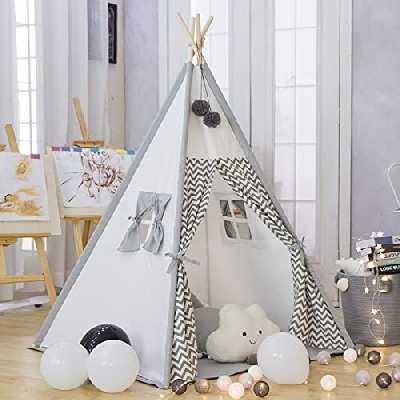 Tente de jeu de tipi pour enfants en toile de coton Tente de tipi indien pour enfant avec bande blanche et noire pour enfants à l'intérieur à l'extérieur avec sac de transport (Gris avec coussin)