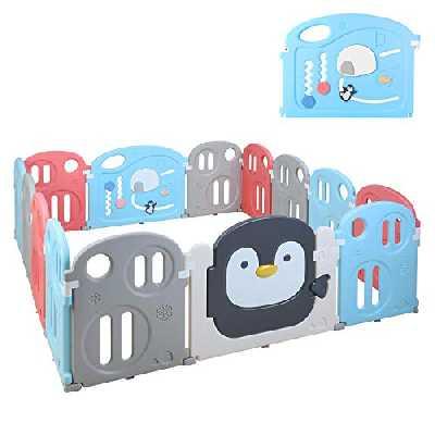 Bamny Parc Bébé 200 x 180cm, Portail, Parc, Parc XXL, Grille de Protection en Plastique avec Porte - Adapté aux Enfants de 0 à 6 Ans (14 Panneaux, Style Pingouin)