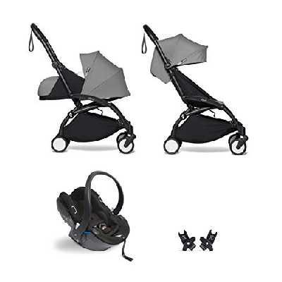 Babyzen YOYO² poussette ensemble complet 0+ et 6+ gris cadre noir avec siège auto YOYO² BeSafe iZi Go Modular i-Size noir