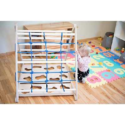 Triangle Pikler pour enfants - Mur d'escalade - Échelle murale 3 en 1 - Jeu éducatif en bois avec corde bleue