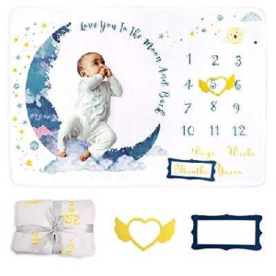 Xiangmall Couverture Milestone Bébé Douce Toison Couverture Mensuelle Accessoires Photographie avec Cadre pour Nouveau Né Garçon Fille Baby Shower Cadeau (Lune)