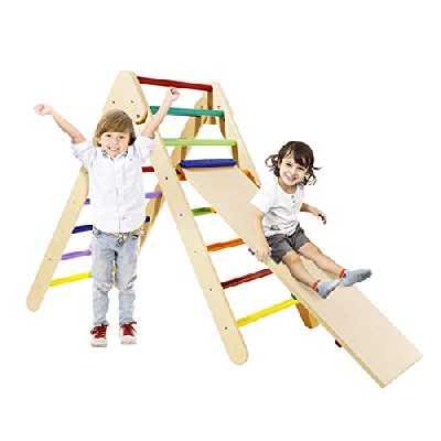 AZY Buddy Triangle d'escalade avec Jeu de Rampes,Triangle d'escalade en Bois Coloré Pliable pour Enfants,Jouet Toboggan 2 en 1 Extra-Large(Certification CE)